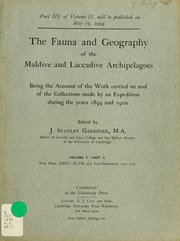 The fauna and geography of the Maldive and Laccadive archipelagoes : being the account of the work carried on and of the collections made by an expedition during the years 1899 and 1900, v.2, pt.2