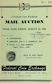 A federal coin exchange mail auction. [08/24/1960]