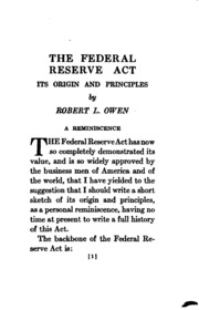 The Federal Reserve Act : Robert Latham Owen : Free Download