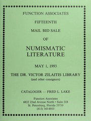 Fifteen Mail Bid Sale of Numismatic Literature