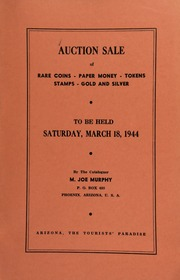 Fifteenth auction sale : catalogue of rare coins, tokens, paper money, miscellaneous gold and silver ... [03/18/1944]