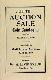 Fifth auction sale : coin catalogue of rare coins to be sold at mail order auction ... [06/28/1939]