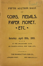 Fifth auction sale of coins, medals, paper money, etc. ... at the Collector's Club ... [04/25/1903]