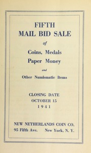 Fifth mail bid sale of coins, medals, paper money and other numismatic items. [10/15/1941]