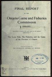 Commissioners 39 report ontario game and fish commission for Game and fish commission
