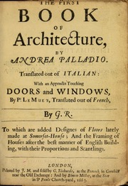 The first book of architecture palladio andrea 1508 1580 the first book of architecture fandeluxe Choice Image