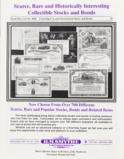 Scarce, Rare and Historically Interesting Collectible Stocks and Bonds: Fixed Price List No. 1094