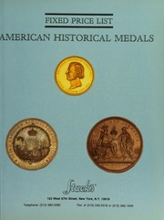 Fixed Price List: American Historical Medals
