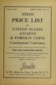 Fixed Price List No. 43 of United States Ancient & Foreign Coins Continental Currency