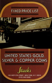Fixed Price List of United States Gold, Silver & Copper Coins