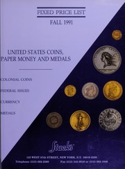 Fixed Price List: United States Coins, Paper Money and Medals (Fall 1991)