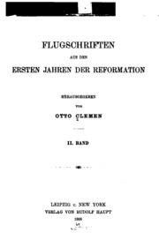 Flugschriften aus den ersten Jahren der Reformation