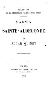 Fondation de la république des Provinces-Unies: Marnix de Sainte-Aldegonde