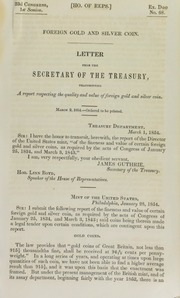 Foreign Gold and Silver Coin: letter from the Secretary of the Treasury, transmitting a report respecting the quality and value of foreign gold and silver coin