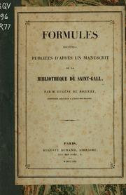Formules inédites publiées d-après un manuscrit de la Bibliothèque de Saint-Gall