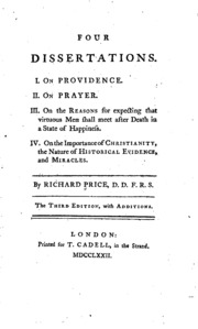 four dissertations richard price Four dissertations david hume 1757 from the philosophical works of david hume, th green and th grose, eds, 1898, london: longmans, green, and co antiquity, the.