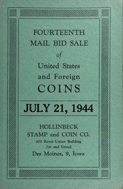 Fourteenth Mail Bid Sale of United States and Foreign Coins