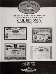 The Fourth Annual Strasburg Stock and Bond Auction: Mail Bid Sale