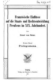 Vol 1: Französische Einflüsse auf die Staats- und Rechtsentwicklung Preussens im ...