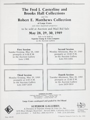 The Fred J. Casterline and Brooks Hall Collections Sale and the Robert E. Matthews Collection (pg. 95)