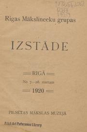 Rigas Makslinieku Grupas izstade : Riga, No. 7.-28. martam 1920, Pilsetas makslas muzeja