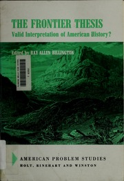 The frontier thesis valid interpretation of american history social security number assignment