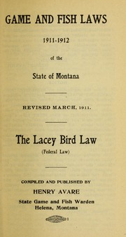 Compilation of laws relating to game and fish game birds for Montana game and fish