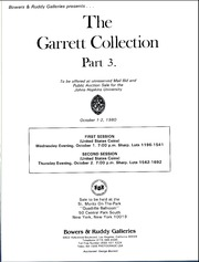 Garret Collection Sales for the Johns Hopkins University, Sale 3