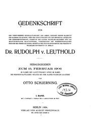 Gedenkschrift für den verstorbenen Generalstabsarzt der Armee ... Dr. Rudolph v. Leuthold v. 1