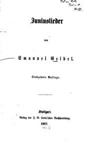 Gedichte Von Emanuel Geibel Geibel Emanuel 1815 1884