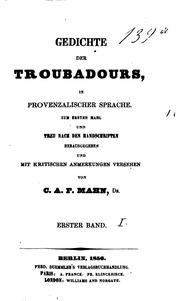 Gedichte Der Troubadours In Provenzalischer Sprache Carl