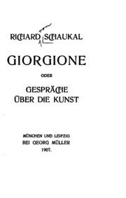 Giorgione, oder, Gespräche über die Kunst