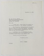 Lynn Glaser Correspondence, 1960-1968