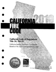 Title 24, Part 9, 2010 California Fire Code : State of