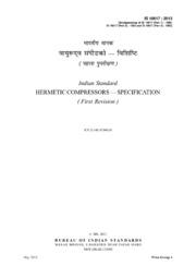 IS 10617: Hermetic Compressors : Bureau of Indian Standards