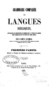 Grammaire comparée des langues bibliques: application des découvertes de ...