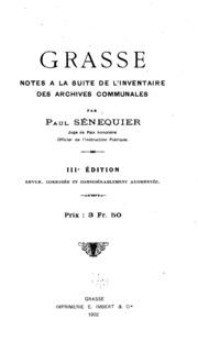 Grasse; notes à la suite de l-Inventaire des archives communales