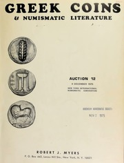 Greek coins & numismatic literature : auction 12 ... New York International Numismatic Convention ... [12/04/1975]