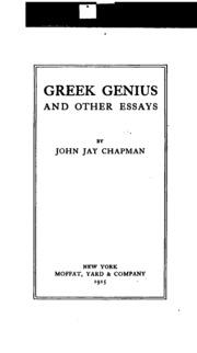 coatesville john jay chapman essay John chapman links: -book site: unbought spirit: a john jay chapman reader, edited by richard stone (u of il press) -essay: coatesville (1912) (john jay chapman.