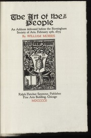 The art of the people : an address delivered before the Birmingham Society of Arts, February 19th, 1879