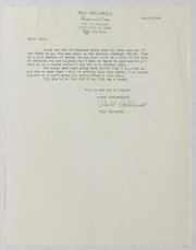 Bill Halliwell Correspondence, 1964