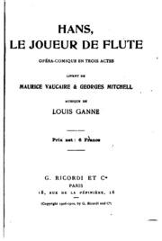 Hans: le joueur de flûte: opéra-comique en trois actes
