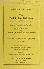 Hans M. F. Schulman presents the Paul I. Ilton collection ... : Israeli, Roman, Greek ... [11/21/1959]