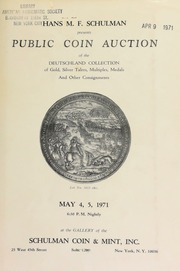 Hans M. F. Schulman presents public coin auction of the Deutschland collection of gold, silver talers ... [05/04-05/1971]