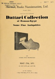 Harmer, Rooke Numismatists, Ltd. proudly offers coins from the celebrated Dattari collection of Roman-Egypt, some fine antiquities ... [05/27/1971]