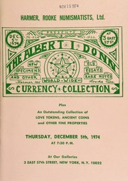 Harmer, Rooke Numismatists, Ltd. will sell at public auctioin the Albert I. Donn collection of world-wide paper currency ... love tokens, ancient coins ... [12/05/1974]