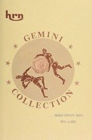 Harmer, Rooke Numismatists, Ltd. will sell at public auction the Gemini collection of twin sets of United States proof coins, 1859-1915, cents through dollars. [12/09-10/1975]