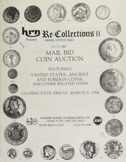 Harmer Rooke Numismatists, Ltd. presents re-collections II : mail bid coin auction featuring United States, ancient, and foreign coins ... [03/09/1984]