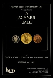 Harmer Rooke Numismatists, Ltd. proudly presents a summer sale of United States, foreign, and ancient coins ... [and] Peter Beaumont, Inc., in association with Harmer Rooke Numismatists, Ltd. proudly presents a summer sale of vintage watches, wristwatches, and jewlery. [08/14/1990]