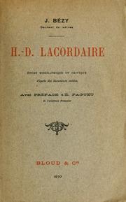Henri Dominique Lacordaire : études biographiques et critiques d-après des documents inédits
